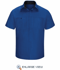 SY42RB Men's Short Sleeve Royal Blue/Black Mesh Performance Plus Shop Shirt with OilBlok Technology