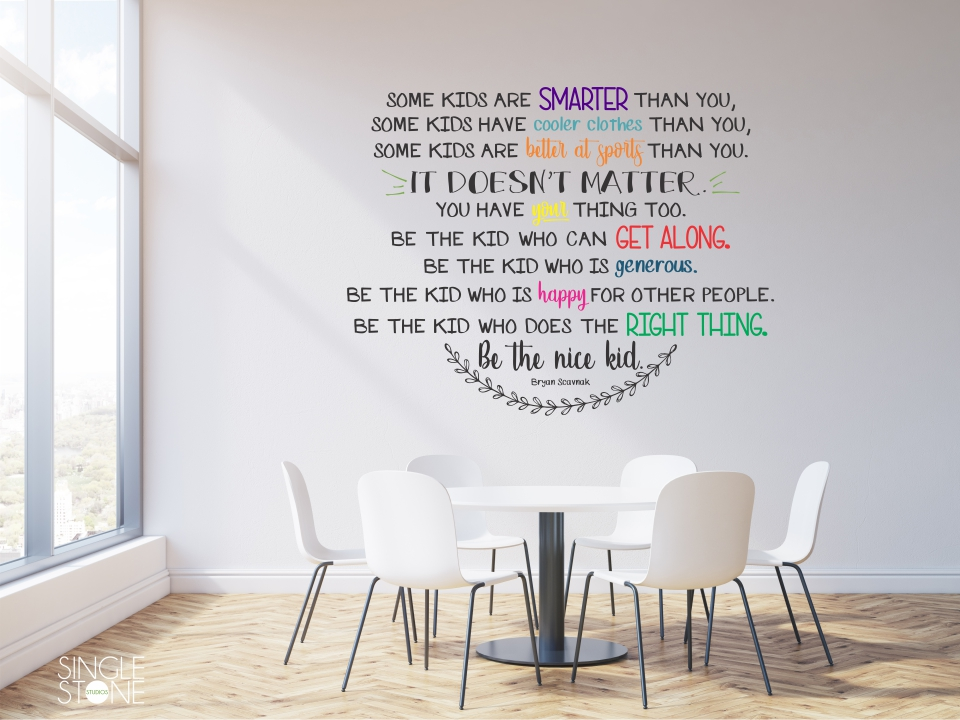 cd28e5730a2 Be The Nice Kid Wall Decal - Multiple Colors - Wall Decals