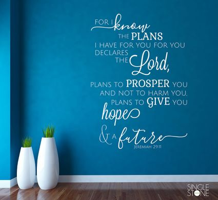 Jeremiah 29:11 Bible Verse - Wall Decals