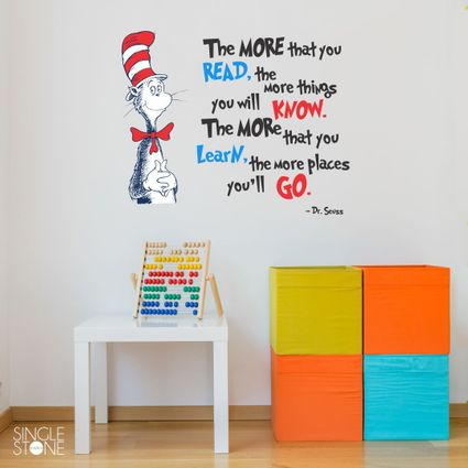 The More You Read Dr. Seuss Quote Wall Decal