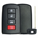Toyota 4 Button w/ Trunk Smart Remote Replacement Shell