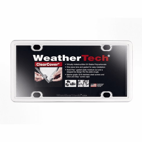 WeatherTech ClearCover™ License Plate Frame: White Finish