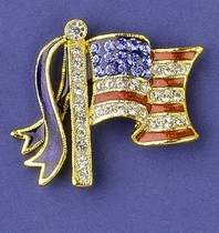 Crystal Flag Pin