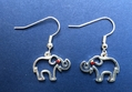 Silver Outline Elephant Earrings
