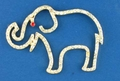 Gold Crystal Outline Elephant Pin