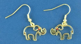 Gold Outline Elephant Earrings