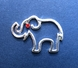 Silver Outline Elephant Lapel Pin