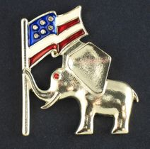 Proud American Elephant with Flag - Silver