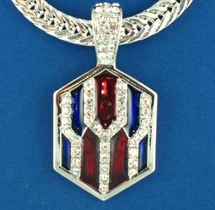 Patriotic Red White and Blue Crystal Neckslide