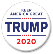 White Trump 2020 Button