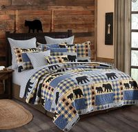 Black Bear Plaid Full/Queen Quilt Ensemble