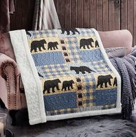 Black Bear Plaid Quilted Sherpa Throw