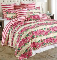 Blossom Stripe King Quilt Ensemble