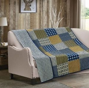 Blue Blocks Quilted Throw
