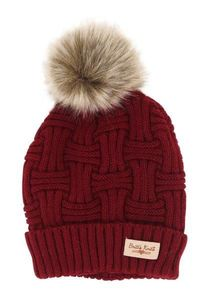 Britt's Knits Lined Woman's Hat w/Pom (Burgundy)