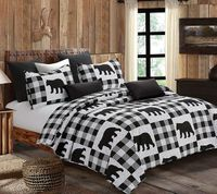 Buffalo Check Black & White King  Quilt Ensemble