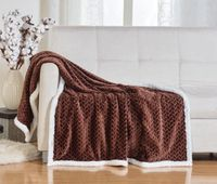 Corded Sherpa Throw Blanket:  Chocolate