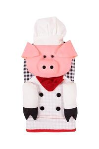 Decorative Oven Mitts Chef Pig