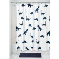 Fabric Shower Curtains Blue Dinosaur
