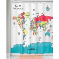 Fabric Shower Curtains World Map