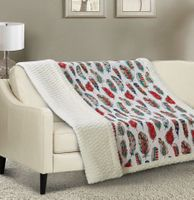 Feathers Quilted Sherpa Throw