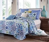 Fiori Blue Full/Queen Quilt Ensemble