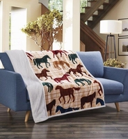 Flannel Sherpa Throw Horse