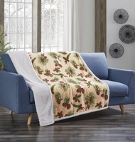 Forest Pines Flannel Sherpa Throw