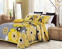Francesa Yellow/Gray King Quilt Ensemble