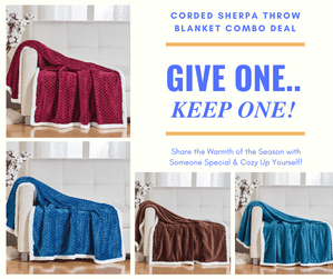 Give One / Keep One Corded Sherpa Throw Combo