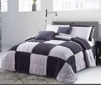 Gray Checkered Luxury Textured Flannel Blanket
