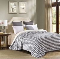 Gray Chevron Stripe  Luxury Textured Sherpa Blanket