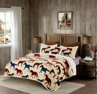 Horses King Flannel Sherpa Bedding Collection