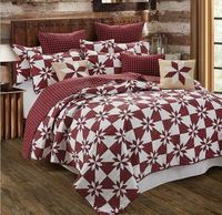 Hunters Star Red King Quilt Ensemble