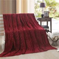 Jumbo Leaf Jacquard Blanket - Red
