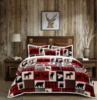 Lodge Life King Flannel Sherpa Bedding Collection