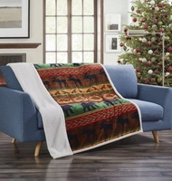 Lodge Preserve Flannel Sherpa Throw