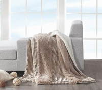 Mocha Stripe Sherpa Throw