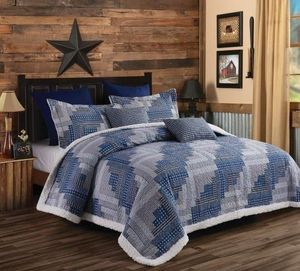 Montana Cabin Blue  (3 pc) Sherpa Quilt Ensmeble