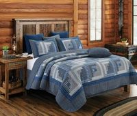 Montana Cabin Blue/Gray King Quilt Ensemble