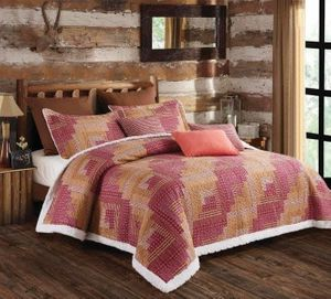 Montana Cabin Red  (3 pc) Sherpa Quilt Ensmeble