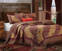 Montana Cabin Red King Quilt Ensemble