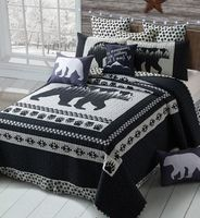 Moon Bear Black & White King Quilt Ensemble