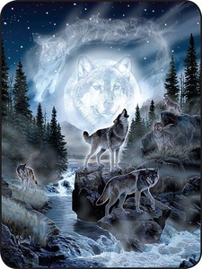 Moon Wolf Perfect Size Throw