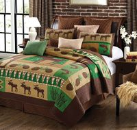 Moose Wilderness King Quilt Ensemble
