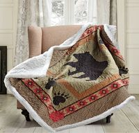 Bear and Paw Quilted Sherpa Throw