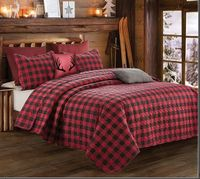 Red & Black Plaid King Quilt Ensemble