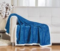 Corded Sherpa Throw Blanket:  Blue
