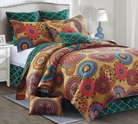 Silk Road Jewel Tone King  Quilt Ensemble