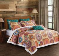 Jewel Tone Silk Road  (3 pc) Sherpa Quilt Ensmeble